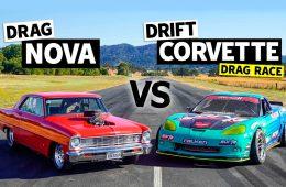 Chevrolet Nova 1966 года сразился в дрэге с 950-сильным Corvette